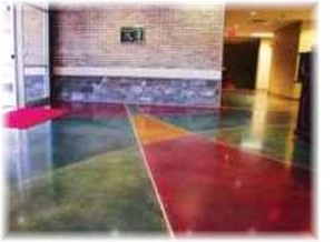 multi colored concrete floor